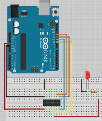 ATTiny84 an Arduino mit LED zum Test
