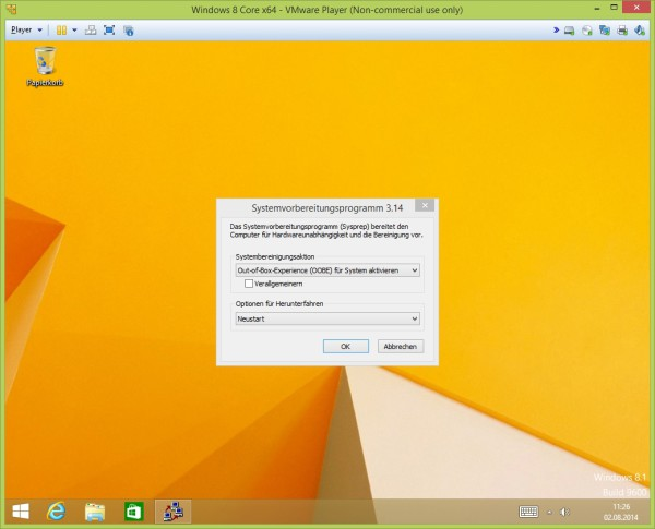 Windows 8.1 Sysprep-Modus