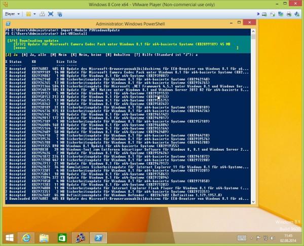 Get-WUInstall lädt Updates herunter und installiert sie
