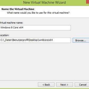Speicherort und Name der VM auswählen